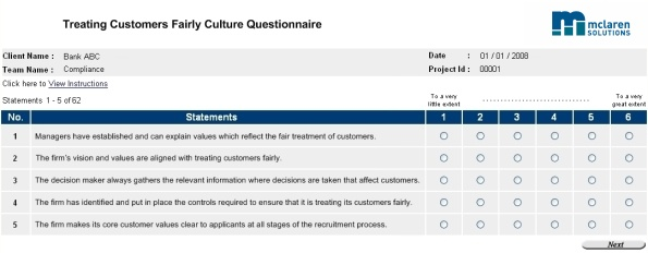 Example of Culture Assessment Personnel UK